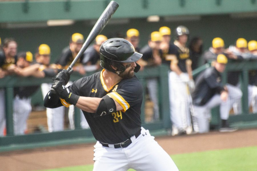 Senior Corrigan Bartlett prepares to take a swing during Wichita State's game against South Florida on Friday, May 14 inside Eck Stadium.