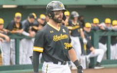 Senior Corrigan Bartlett reacts to a call during Wichita State's game against South Florida on Friday, May 14 inside Eck Stadium.