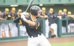 Freshman Couper Cornblum prepares to take a swing during Wichita State's game against South Florida on Friday, May 14 inside Eck Stadium.