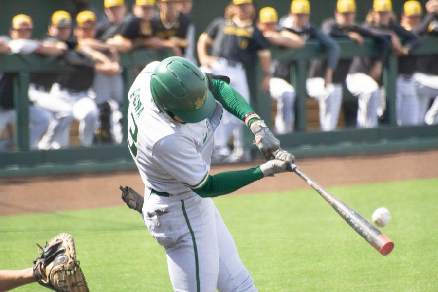 South Florida's Roberto Pena takes a swing in their game against Wichita State on Friday, May 14 inside Eck Stadium.