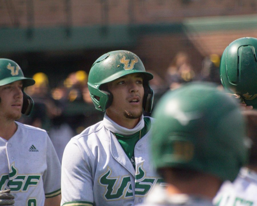 South Florida's Roberto Pena celebrates after hitting a homerun in their game against Wichita State on Friday, May 14 inside Eck Stadium.