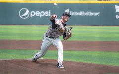 Senior Preston Snavely throws a pitch during Wichita State's game against South Florida on Saturday, May 15 inside Eck Stadium.