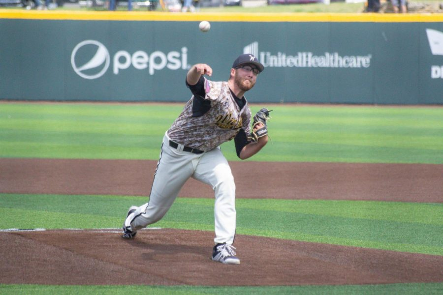 Senior Preston Snavely throws a pitch during Wichita States game against South Florida on Saturday, May 15 inside Eck Stadium.
