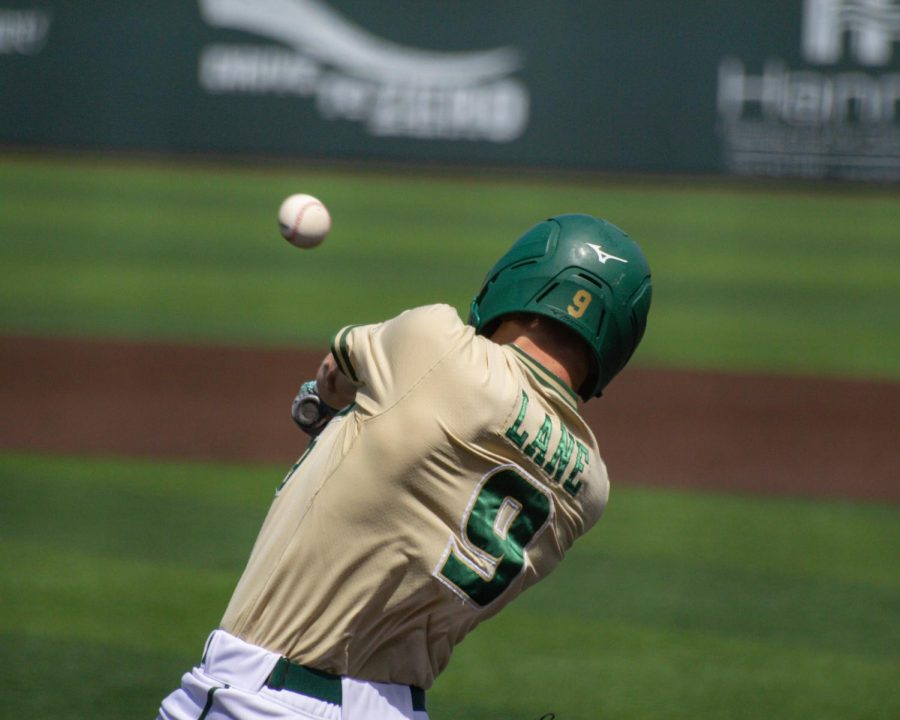 South Florida's Carmine Lane takes a swing during their game against Wichita State on Saturday, May 15 inside Eck Stadium.