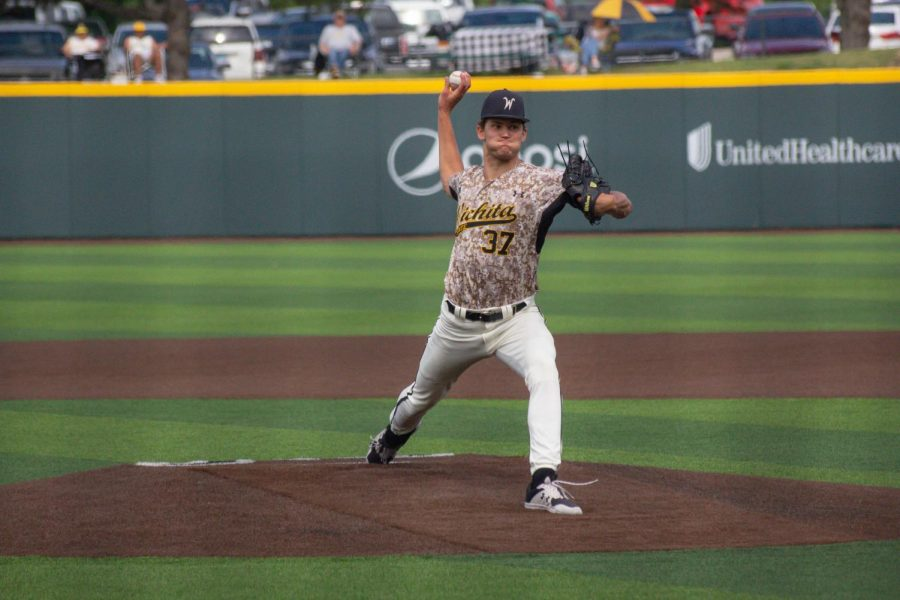 Freshman Josh Hansell throws a pitch during Wichita State's game against South Florida on Saturday, May 15 inside Eck Stadium.