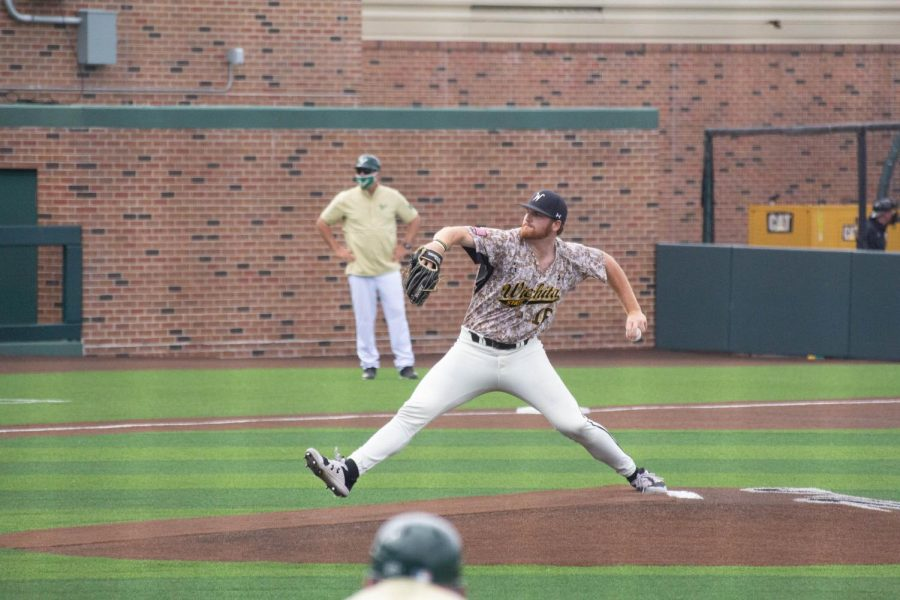 Junior Spencer Hynes throws a pitch during Wichita State's game against South Florida on Saturday, May 15 inside Eck Stadium.