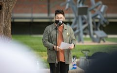 Jordan Cao speaks at the #StopAsianHate vigil on April 30.