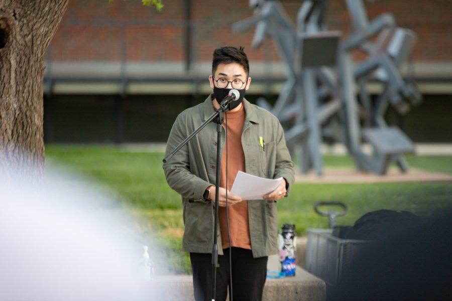 Jordan Cao speaks at the #StopAsianHate vigil on April 30.