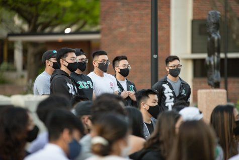 Members of Chi Sigma Tau fraternity during the #StopAsianHate vigil on April 30.