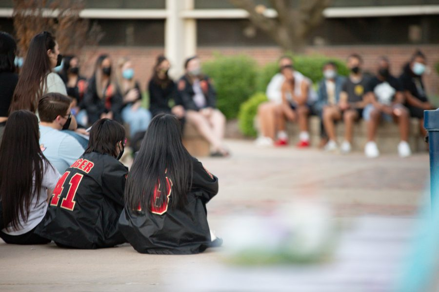 #StopAsianHate candlelight vigil was hosted on April 30 in the east courtyard of the Rhatigan Student Center.