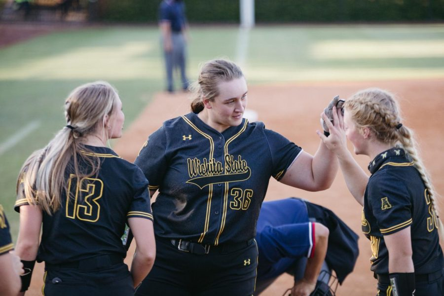 Wichita State sophomore Lauren Mills celebrates at home base during the game against Tulsa on May 14.