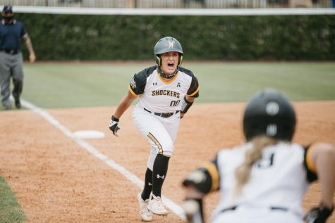 Wichita State senior Madison Perrigan runs home during the game against UCF on May 15.