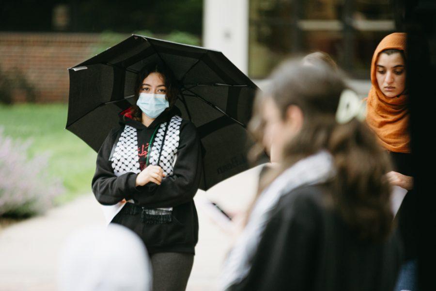 Freshman Ranime Goual-Belhamidi attends the vigil honoring Palestinians on May 30.