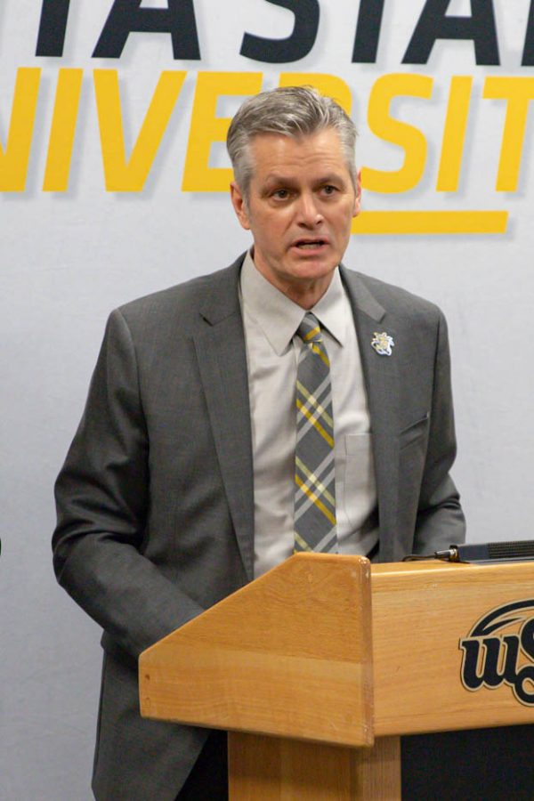 Rick Muma speaks at a press conference after being selected to serve as president on May 6, 2021.