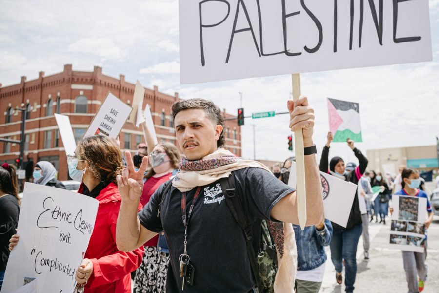 The Wichita Community gathers to protest Palestininan rights in Old Town Plaza on May 15.