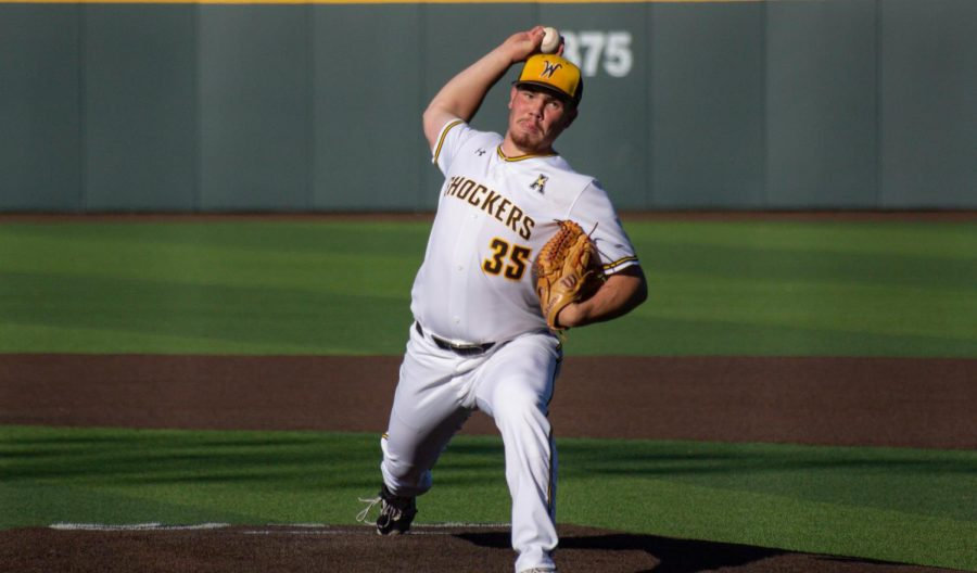 Freshman Jace Kaminska throws a pitch during WSU's game against East Carolina on April 30 inside Eck Stadium.