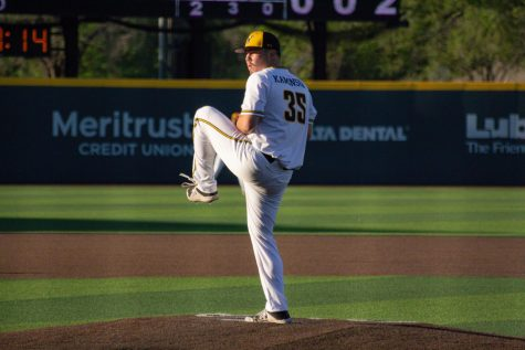 Freshman Jace Kaminska pitches during WSU