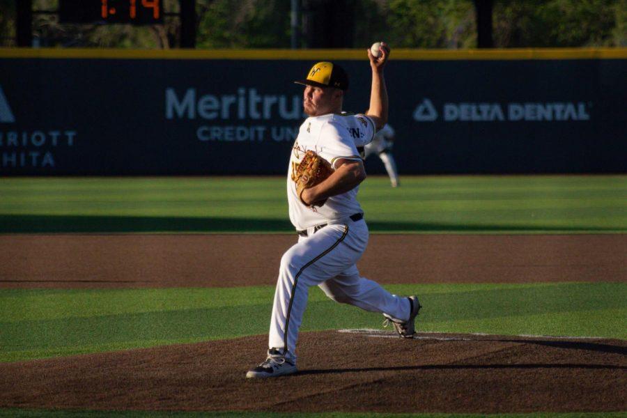 Freshman Jace Kaminska throws a pitch during WSU's game against East Carolina on April 30 inside Eck Stadium.