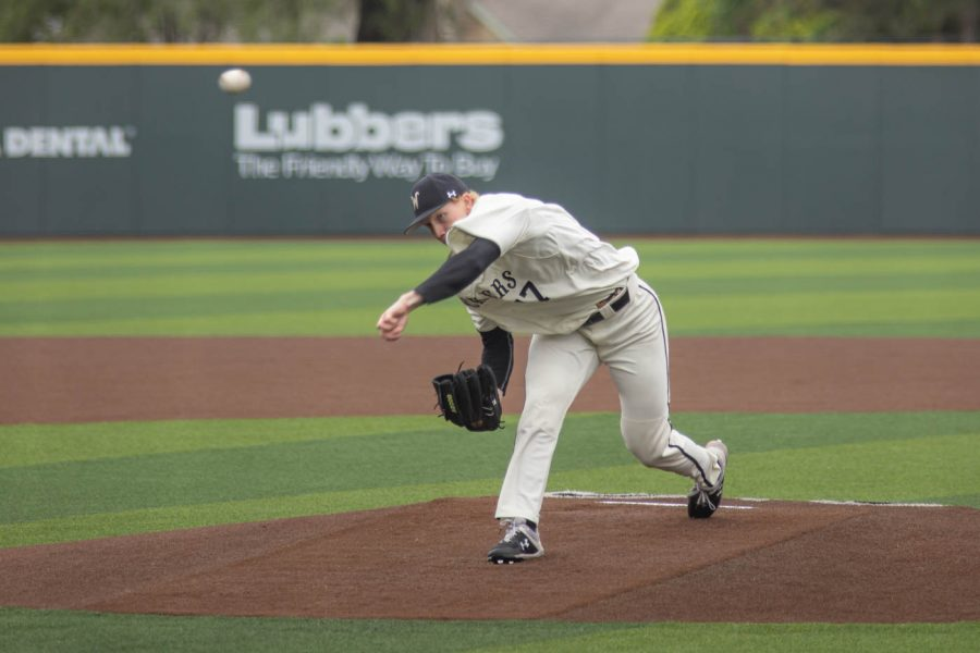 Wichita State senior Gareth Stroh pitches during the game against the Memphis Tigers at Eck Stadium on May 22, 2021.