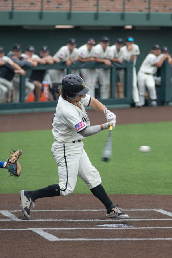 Wichita State junior Ross Cadena bats during the game against the Memphis Tigers at Eck Stadium on May 22, 2021.