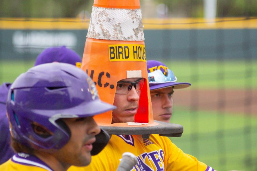 East+Carolina%27s+Thomas+Francisco+celebrates+after+hitting+a+home+run+by+putting+a+traffic+cone+on+top+of+his+head.