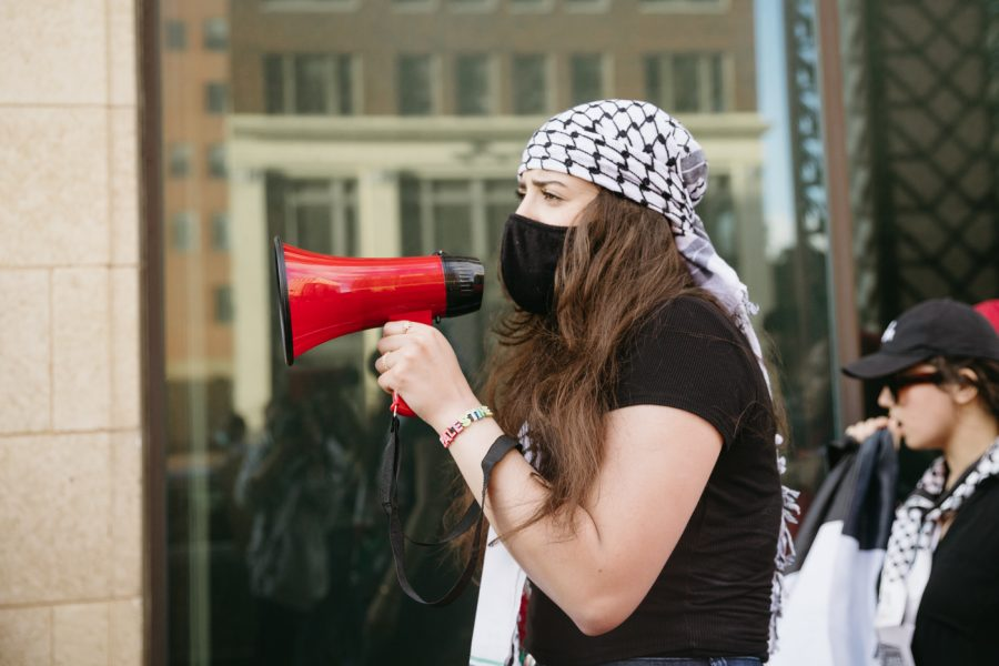 The Wichita community gathers to protest for Palestinian rights in Old Town Square on May 21, 2021.
