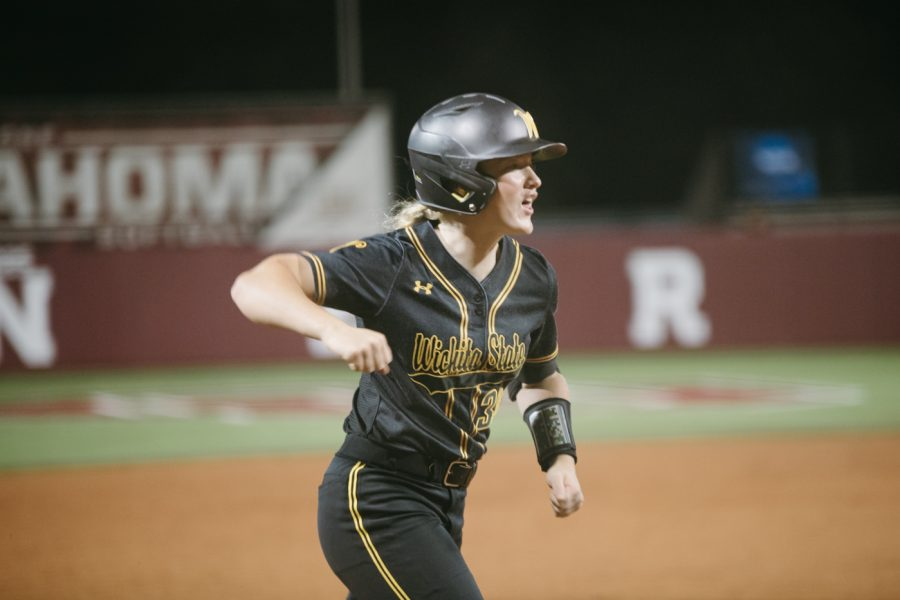 Wichita State freshman Addison Barnard runs home during the game against Texas A&M on May 23.