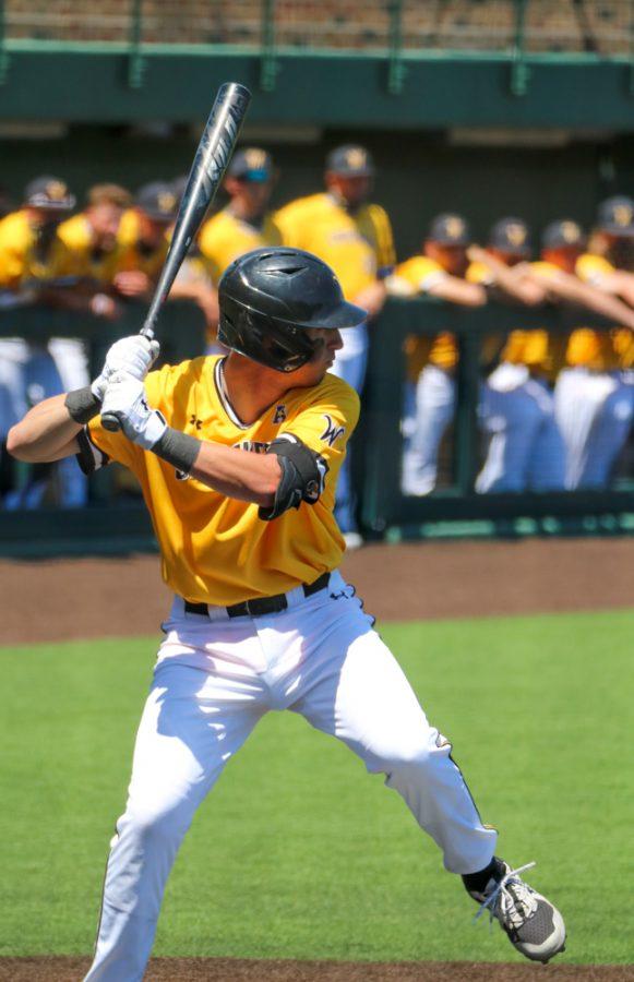 Wichita State freshman, Couper Cornblum steps up to bat during a game against East Carolina at Eck Stadium on April 30