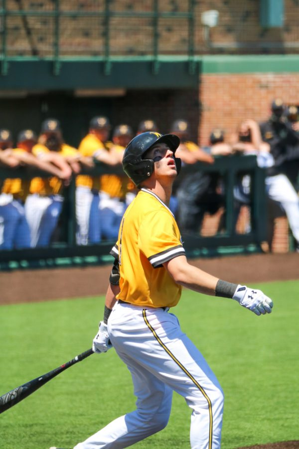 Wichita State freshman, Couper Cornblum watches the ball during a game against East Carolina at Eck Stadium on April 30