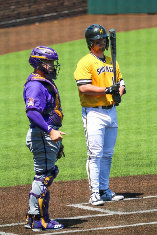 Wichita State junior, Ross Cadena steps up to bat during a game against East Carolina at Eck Stadium on April 30