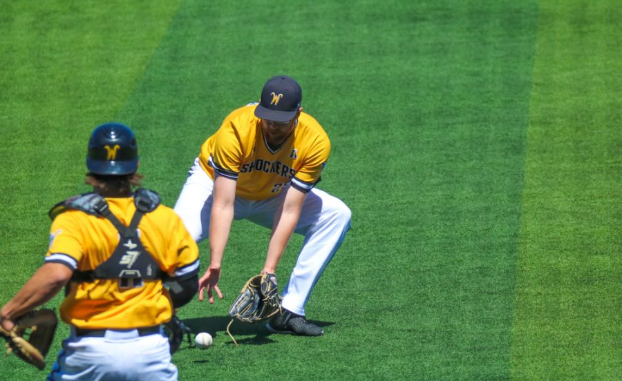 Wichita State senior, Preston Snavely runs to the ball  during a game against East Carolina at Eck Stadium on April 30