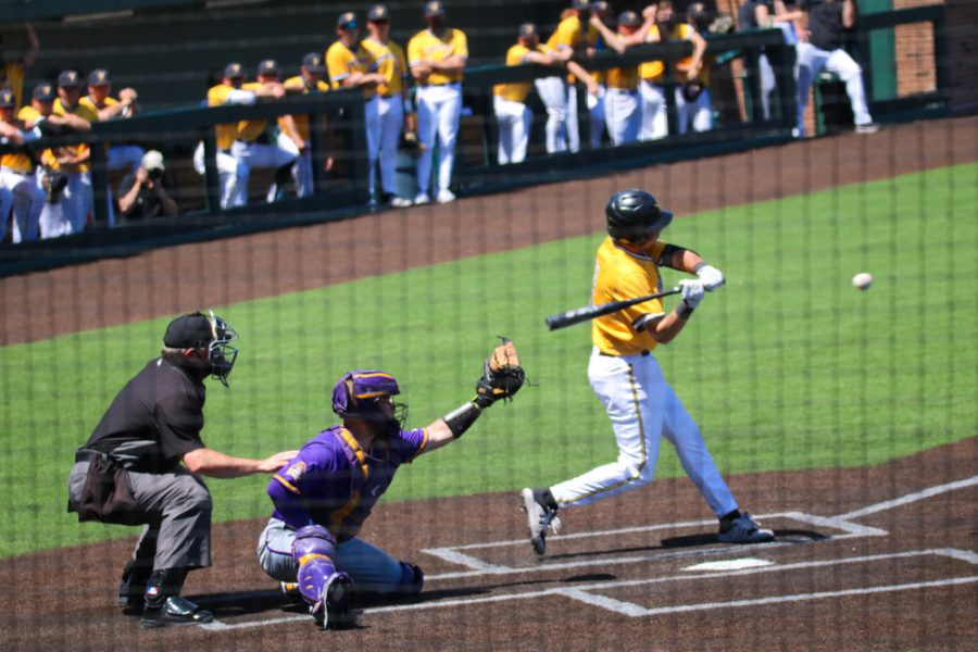 Wichita State freshman, Couper Cornblum hits the ball during a game against East Carolina at Eck Stadium on April 30