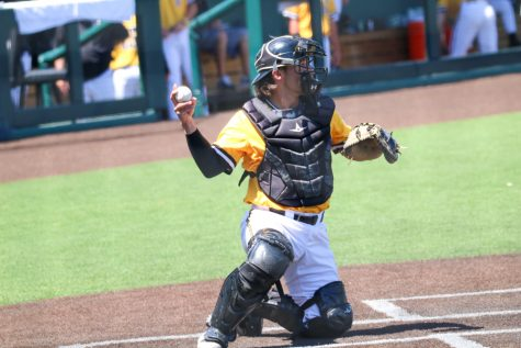 Wichita State junior, Ross Cadena throws the ball during a game against East Carolina at Eck Stadium on April 30