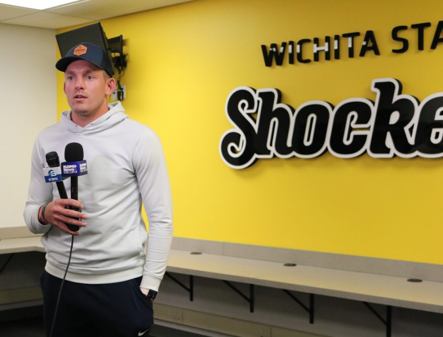 Ron Baker talks to the media after being named the GM of the Aftershocks on Thursday inside the Charles Koch Arena media room.