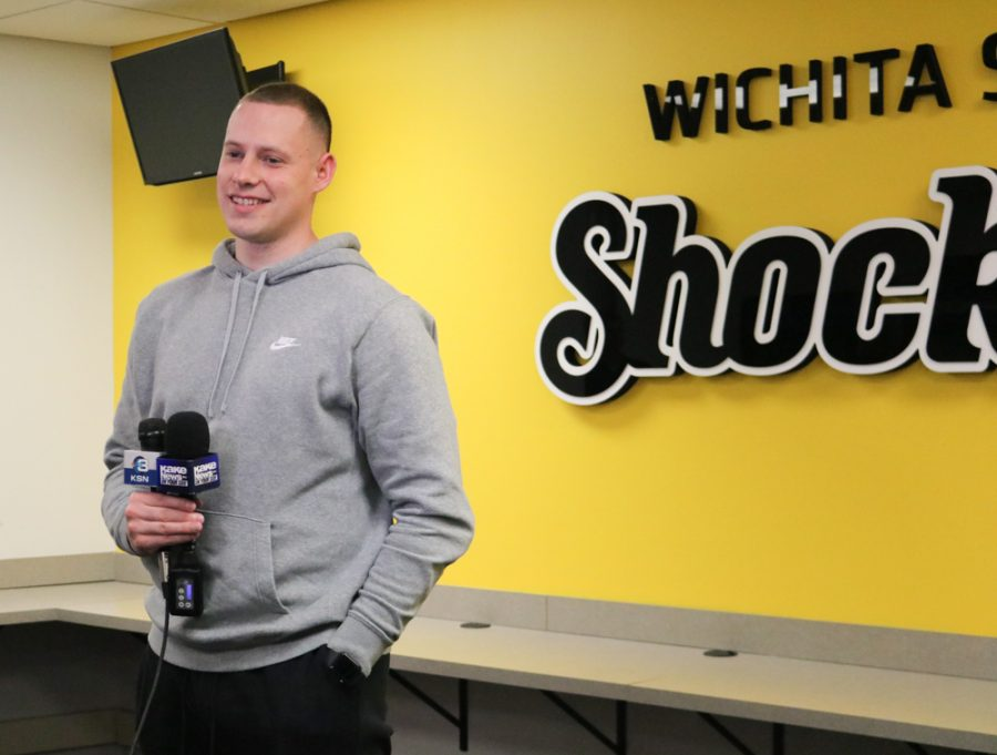 Zach Bush talks to the media following the announcement of Ron Baker being the next GM of the Aftershocks on Thursday inside the Charles Koch Arena media room.