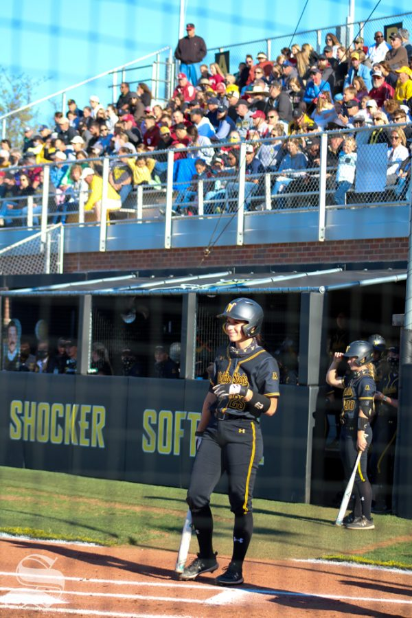 Wichita State sophomore, Sydney McKinney steps up to bat during a game against University of Oklahoma at Wilkins Stadium on April 4