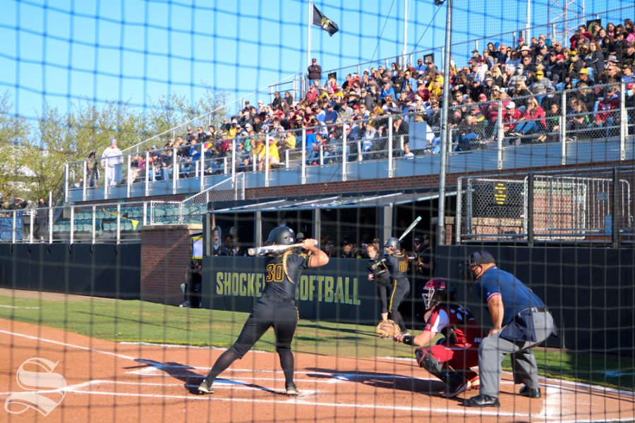Wichita State softball fans crowd the Wilkins Stadium during a game against University of Oklahoma at Wilkins Stadium on April 4