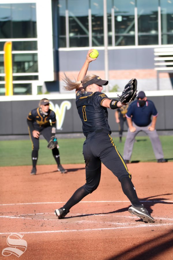 Wichita State senior, Bailey Lange pitches the ball during a game against University of Oklahoma at Wilkins Stadium on April 4