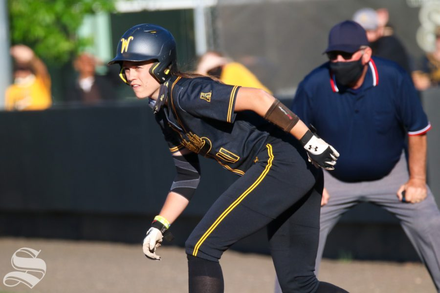 Wichita State junior, Neleigh Herring perpares to run to third base during a game against University of Oklahoma at Wilkins Stadium on April 4
