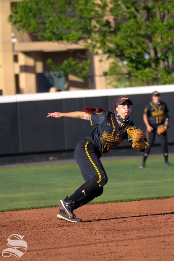 Wichita State sophomore, Sydney McKinney runs towards the ball during a game against University of Oklahoma at Wilkins Stadium on April 4