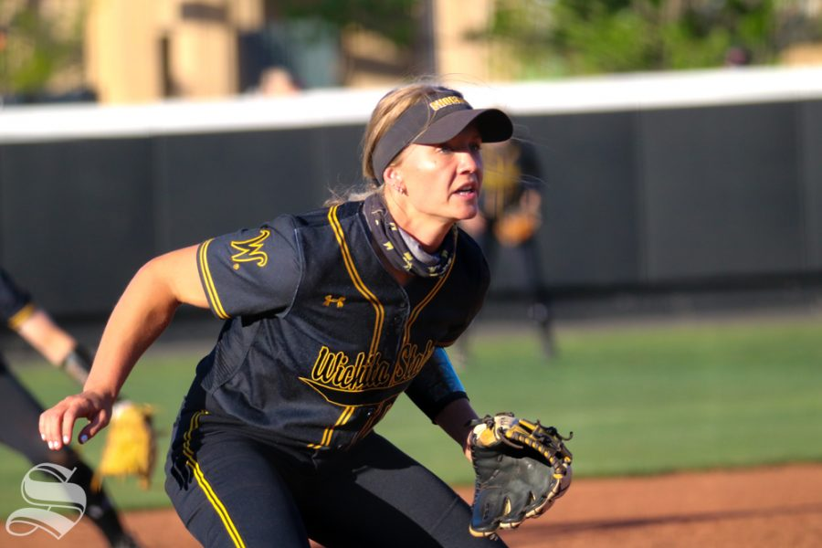 Wichita State, senior Ryeilgh Buck watches the ball during a game  against University of Oklahoma at Wilkins Stadium on April 4