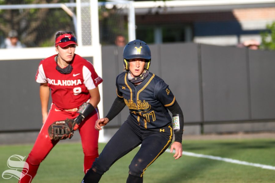 Wichita State, senior Kaylee Huecker perpares to run to third base during a game against University of Oklahoma at Wilkins Stadium on April 4
