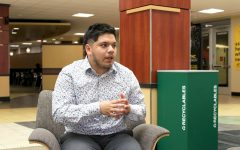 President of Sigma Lambda Beta Luis Banda discusses the Dreamer's Scholarship during an interview with The Sunflower inside the Rhatigan Student Center June 17, 2021. The Dreamers Scholarship is a program tailored to provide financial support for DACA recipients and undocumented students at WSU.