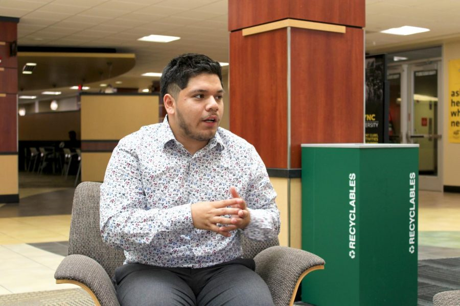 President of Sigma Lambda Beta Luis Banda discusses the Dreamers Scholarship during an interview with The Sunflower inside the Rhatigan Student Center June 17, 2021. The Dreamers Scholarship is a program tailored to provide financial support for DACA recipients and undocumented students at WSU.
