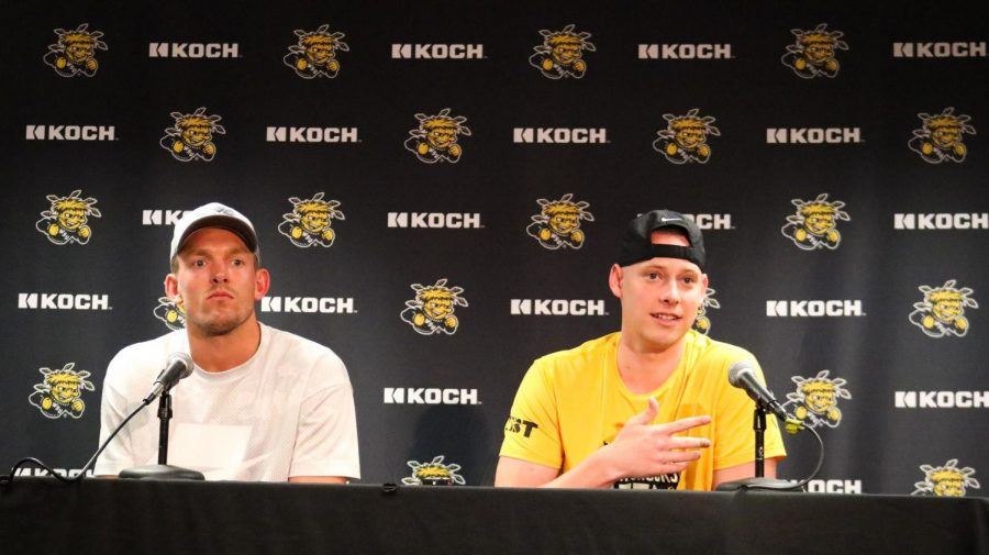 Wichita+State+alumni+Ron+Baker+and+Zach+Bush+meet+with+the+media+following+the+release+of+the+TBT+bracket+inside+the+Charles+Koch+Arena+media+room+on+June+22.