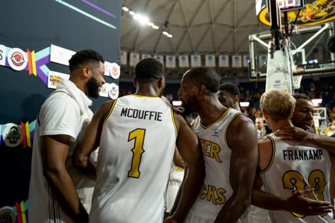 Aftershocks players celebrate after getting the win on July 18 at Charles Koch Arena.