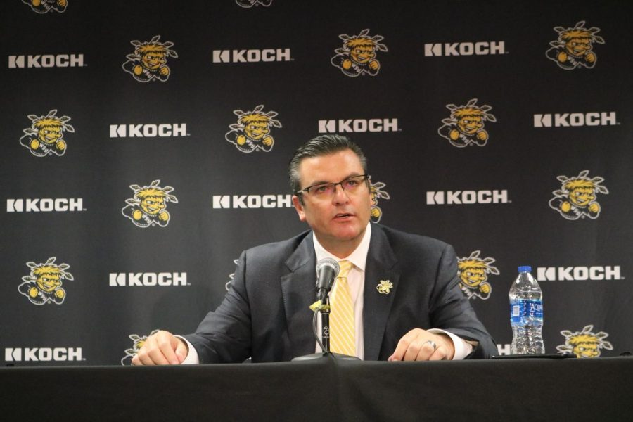Darron Boatright explains the new NIL policy to the media at Charles Koch Arena on July 1