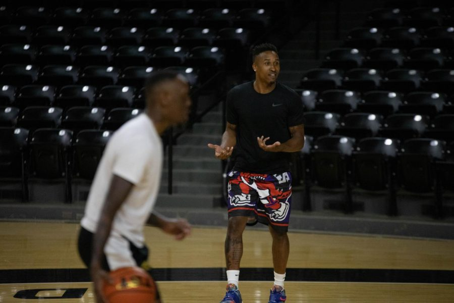AfterShocks guard Tyrus McGee reacts to a teammate during their first practice on July 13 inside Charles Koch Arena.