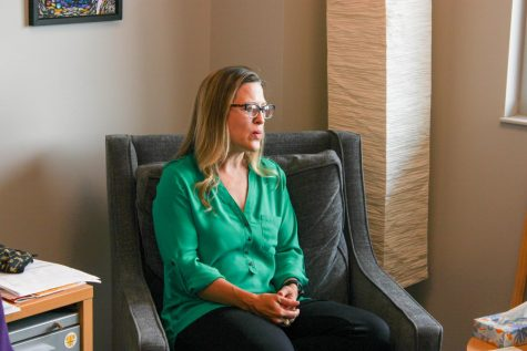 Dr. Jessica Provines, the director of counseling and prevention services, prepares to answer a question during an interview with The Sunflower inside of the Student Wellness Center on July 7.