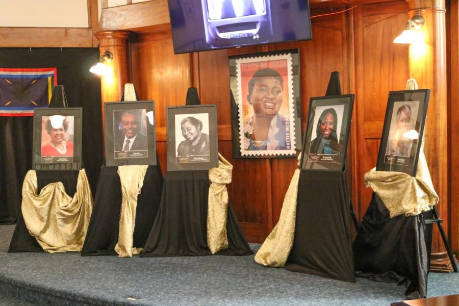 The African American Museum presents important social figures in African American history by framing them and showcasing them in the middle of the main lobby on July 27.